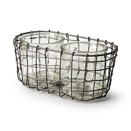 Metal basket round +2x cylinder h10,5