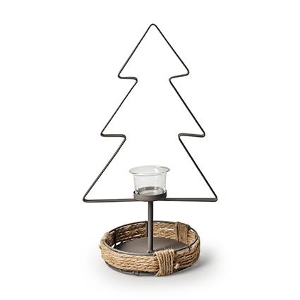 Metalen kerstboom+glas h37,5 cm