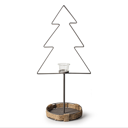 Metal christmas tree+glass h57 cm