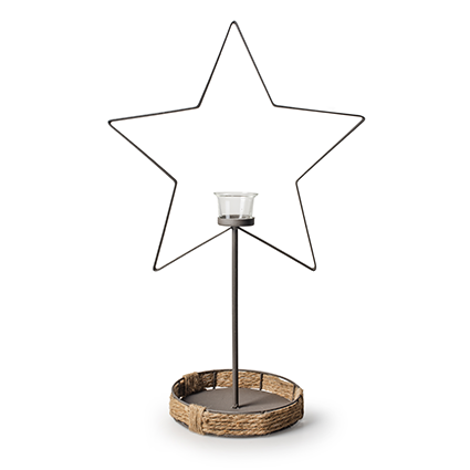 Metal star+glass h56 cm