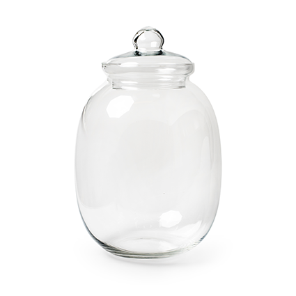 Glass jar + cover h42 d23 cm