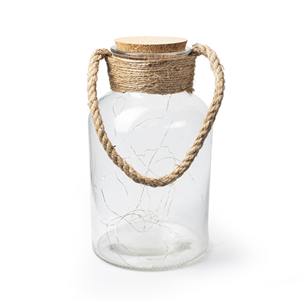 Glass with rope+cork+led lights h30 d17