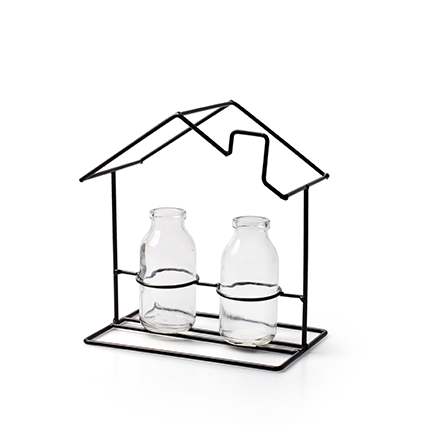 Metalen frame'huis' + 2x flesje klein h20 d18x12 cm