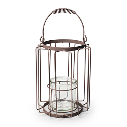 Lantern metal+glass 'gear' h27 d18 cm