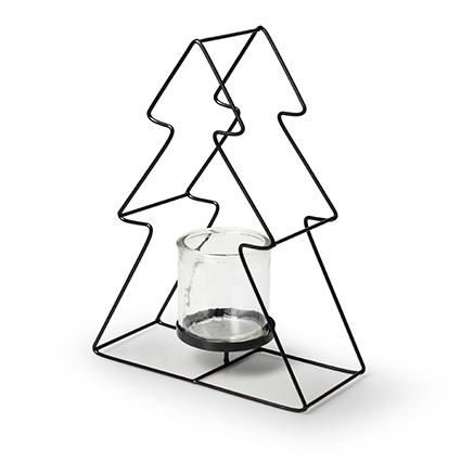 Christmas tree black metal+glass h28