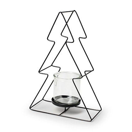 Christmas tree black metal+glass h35
