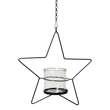 Metal hanger with glass 'star' 31,5