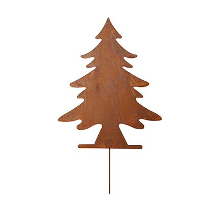 Christmastree on stick rustybrown h25
