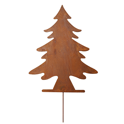 Christmastree on stick rustybrown h45