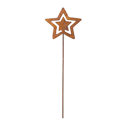 Christmasstar small on pin rusty brown