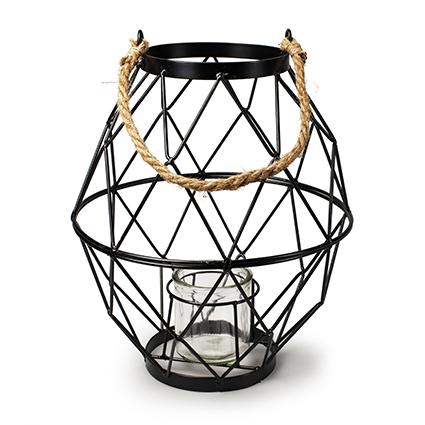 Metalen lantaarn 'lorraine' h30,5 d13 cm