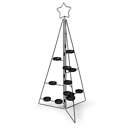 Metal standing tree+12x candleholder