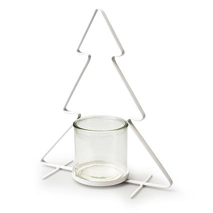 Metalen kerstboom wit+cilinder h32 d27 cm
