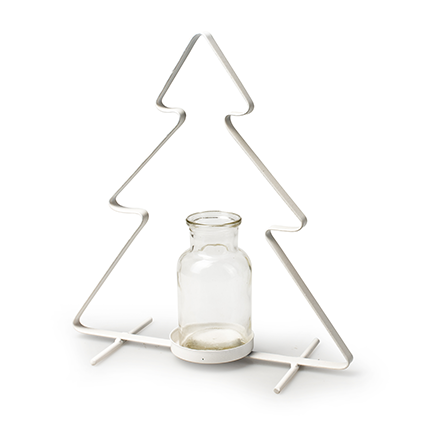Metal tree white+1x bottle h25 d23 cm