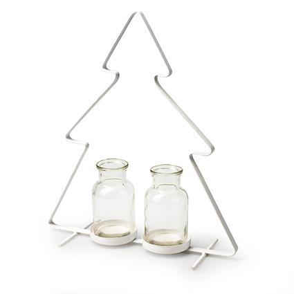 Metalen kerstboom wit+2x flesje h32 d27 cm