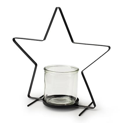 Metal star black+cylinder h30 d30 cm
