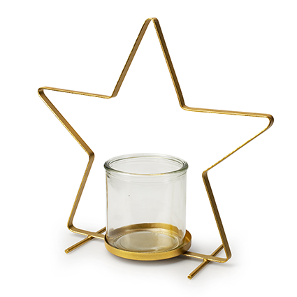 Metal star gold+cylinder h30 d30 cm