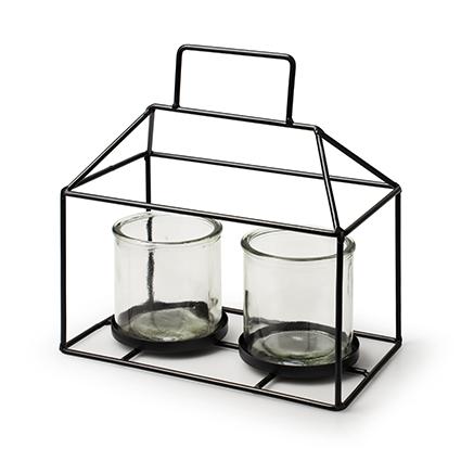 Metalen huis zwart + 2x cilinder h12/22 d21x12 cm