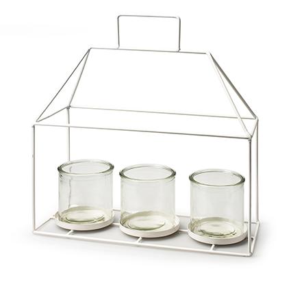 Metalen huis wit + 3x cilinder h16/31 d30x12 cm