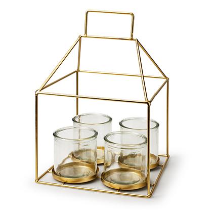 Metalen huis goud + 4x cilinder h16/30 d20x20 cm