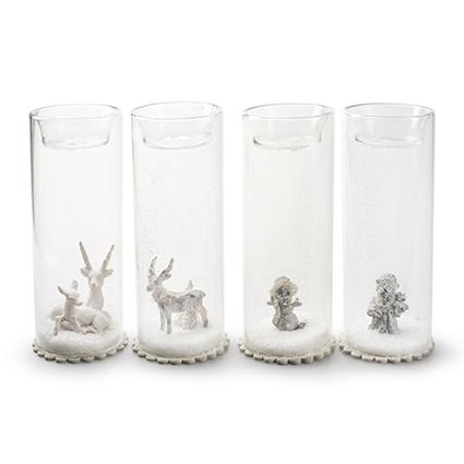 Glas tube + deco 4-ass h15,5 d5,5 cm