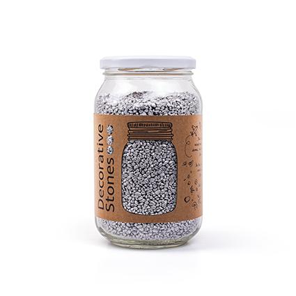 Jar deco granulate silver