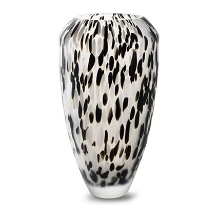 Vaas 'confetti'zwart/wit frost h40 d21 cm cc