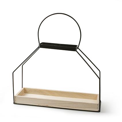 wandhanger hout+metaal 14x5,5x20,5/35,5 cm