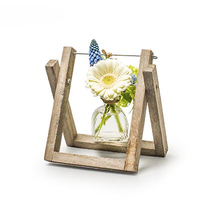 Hout+1x glas 'bastille' h17 d16x9 cm