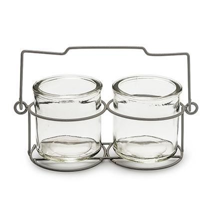 Rek+2x glas 'rimini' h6 d21x9 cm