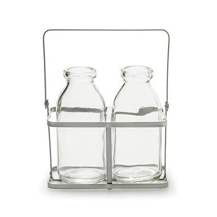 Rek+2x glas 'kaia' h11 d12x7 cm