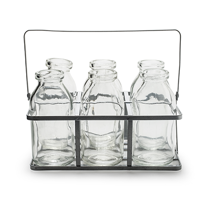 Rek+6x glas 'kaia' h11 d19x12 cm