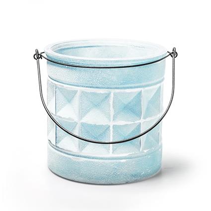 Glas+hanger 'saga' blauw h15 d15 cm