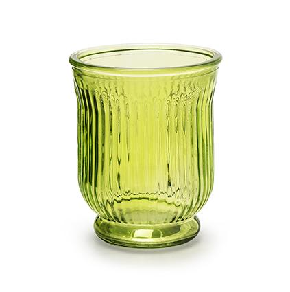 Vaas 'stripe' groen h13,5 d11 cm