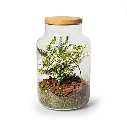 Eco vase 'gigi'+hole+lid h30 d19 cm