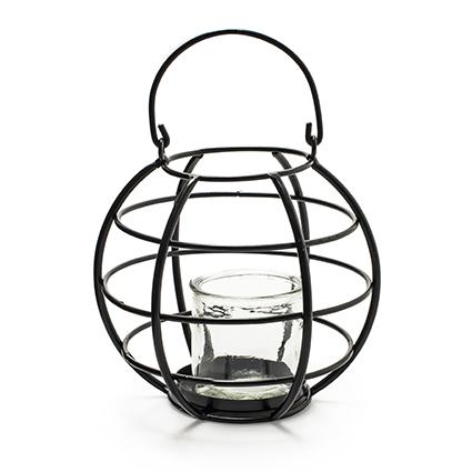 Metalen lantaarn 'belmondo' h24 d19 cm