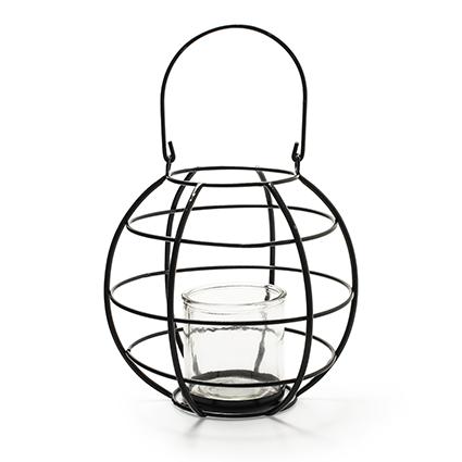 Metalen lantaarn 'belmondo' h32 d24.5 cm