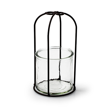 Glas + metalen stolpframe 'coby' h16,5 d9 cm