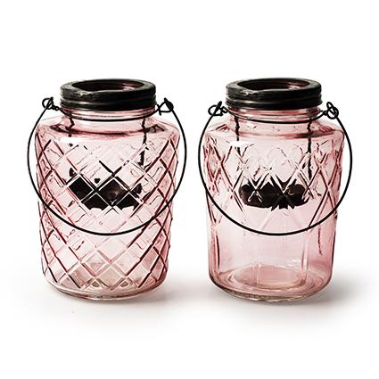 Lantern 'trinity' pink 2-ass h19 d13 cm