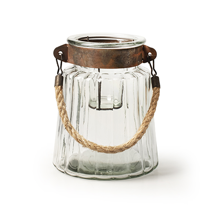 Glas 'visage'+metall/rope h17.5 d14.5cm