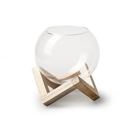 Woodframe + roundvase d10 cm