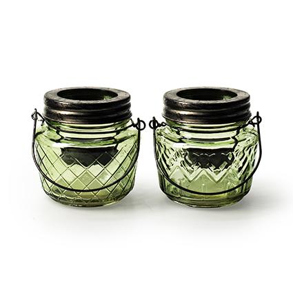 Lantern 'trinity' green 2-ass. h8.5 d9 cm