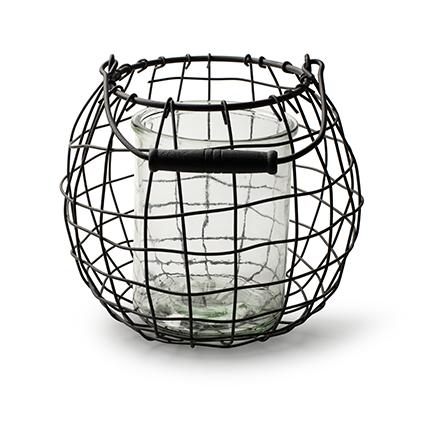 Lantaarn metaal+glas 'balla' h19 d22 cm