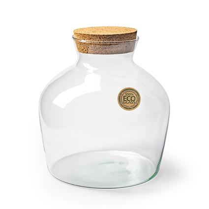Eco vase+cork 'terrarium' h25 d20,5 cm