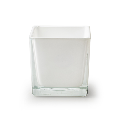 Cube 'piazza' white 8x8x8 cm
