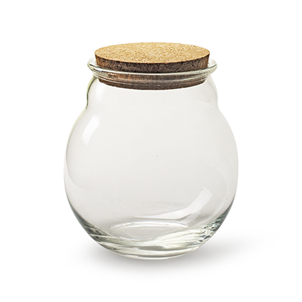 Roundvase with cork h20 d16 cm