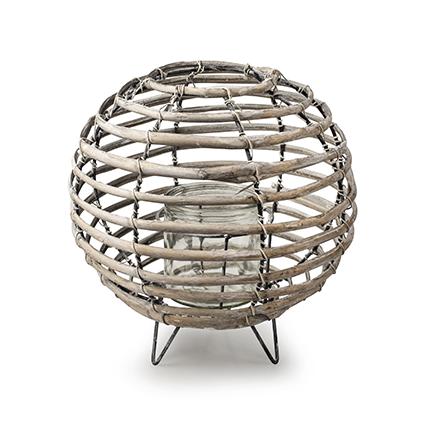 Lantaarn met glas 'luna' grijs h22 d22 cm