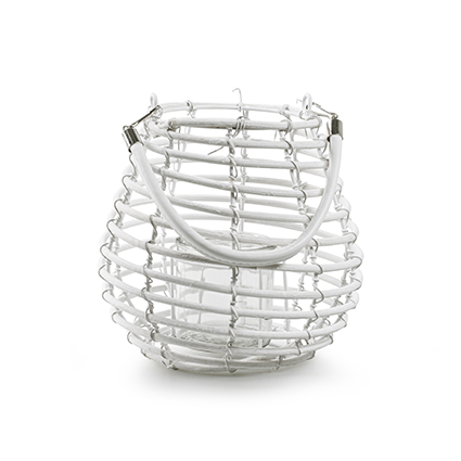 Lantaarn met glas 'luca' wit h19 d20 cm
