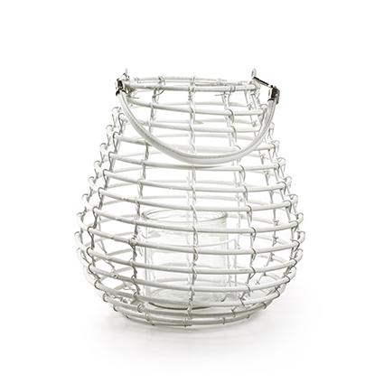 Lantaarn met glas 'luca' wit h25 d26 cm