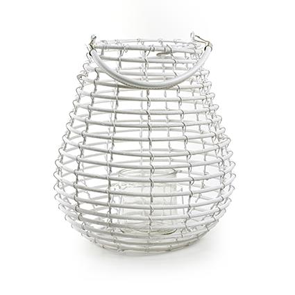 Lantern 'luca' white h31 d28 cm